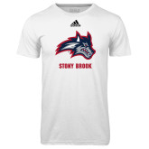 Adidas Climalite White Ultimate Performance Tee-Wolfie Head and Stony Brook