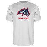 Performance White Tee-Wolfie Head and Stony Brook
