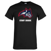 Black T Shirt-Wolfie Head and Stony Brook