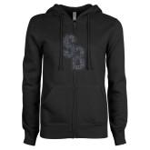 ENZA Ladies Black Fleece Full Zip Hoodie-Interlocking SB Graphite Soft Glitter