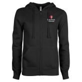 ENZA Ladies Black Fleece Full Zip Hoodie-University Mark Vertical