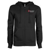 ENZA Ladies Black Fleece Full Zip Hoodie-University Mark Stacked