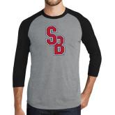 Grey/Black Tri Blend Baseball Raglan-Interlocking SB