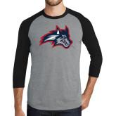 Grey/Black Tri Blend Baseball Raglan-Wolfie Head