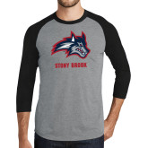 Grey/Black Tri Blend Baseball Raglan-Wolfie Head and Stony Brook