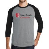 Grey/Black Tri Blend Baseball Raglan-University Mark Stacked