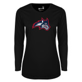 Ladies Syntrel Performance Black Longsleeve Shirt-Wolfie Head