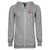 ENZA Ladies Grey/Black Marled Full Zip Hoodie-University Mark Vertical