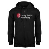 Black Fleece Full Zip Hoodie-University Mark Stacked