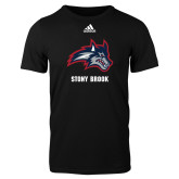Adidas Black Logo T Shirt-Wolfie Head and Stony Brook