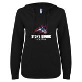 ENZA Ladies Black V Notch Raw Edge Fleece Hoodie-Wolfie Head and Stony Brook Athletics
