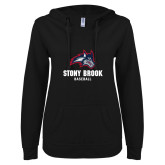 ENZA Ladies Black V Notch Raw Edge Fleece Hoodie-Wolfie Head Stony Book Baseball