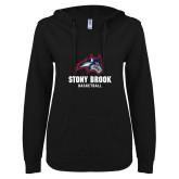 ENZA Ladies Black V Notch Raw Edge Fleece Hoodie-Wolfie Head Stony Book Basketball