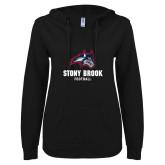 ENZA Ladies Black V Notch Raw Edge Fleece Hoodie-Wolfie Head Stony Book Football