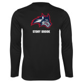 Performance Black Longsleeve Shirt-Wolfie Head and Stony Brook