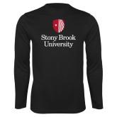 Performance Black Longsleeve Shirt-University Mark Vertical