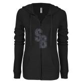 ENZA Ladies Black Light Weight Fleece Full Zip Hoodie-Interlocking SB Graphite Soft Glitter