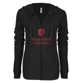 ENZA Ladies Black Light Weight Fleece Full Zip Hoodie-University Mark Vertical Red Glitter