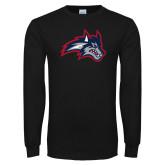 Black Long Sleeve T Shirt-Wolfie Head