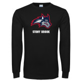 Black Long Sleeve T Shirt-Wolfie Head and Stony Brook