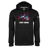 Under Armour Black Performance Sweats Team Hoodie-Wolfie Head and Stony Brook