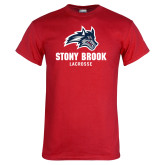 Red T Shirt-Wolfie Head Stony Book Lacrosse