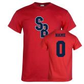 Red T Shirt-Interlocking SB, Custom Tee w/ Name and #