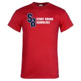 Red T Shirt-Interlocking SB Stony Brook Seawolves