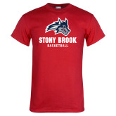 Red T Shirt-Wolfie Head Stony Book Basketball
