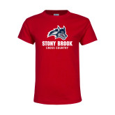 Youth Red T Shirt-Wolfie Head Stony Book Cross Country