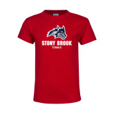 Youth Red T Shirt-Wolfie Head Stony Book Tennis