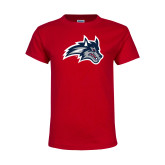 Youth Red T Shirt-Wolfie Head