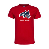 Youth Red T Shirt-Wolfie Head and Stony Brook