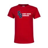 Youth Red T Shirt-Interlocking SB Stony Brook Seawolves