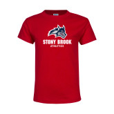 Youth Red T Shirt-Wolfie Head and Stony Brook Athletics