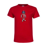 Youth Red T Shirt-Illustrated Soccer Wolfie