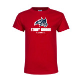 Youth Red T Shirt-Wolfie Head Stony Book Baseball