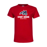 Youth Red T Shirt-Wolfie Head Stony Book Basketball