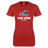 Next Level Ladies SoftStyle Junior Fitted Red Tee-Wolfie Head Stony Book Softball