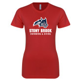 Next Level Ladies SoftStyle Junior Fitted Red Tee-Wolfie Head Stony Book Swimming and Diving