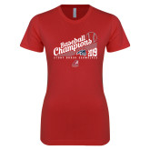 Next Level Ladies SoftStyle Junior Fitted Red Tee-2019 Baseball Champions