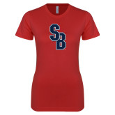 Next Level Ladies SoftStyle Junior Fitted Red Tee-Interlocking SB