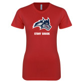Next Level Ladies SoftStyle Junior Fitted Red Tee-Wolfie Head and Stony Brook