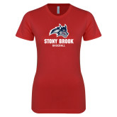 Next Level Ladies SoftStyle Junior Fitted Red Tee-Wolfie Head Stony Book Baseball