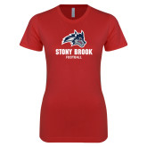 Next Level Ladies SoftStyle Junior Fitted Red Tee-Wolfie Head Stony Book Football