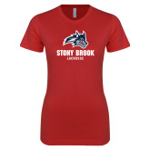 Next Level Ladies SoftStyle Junior Fitted Red Tee-Wolfie Head Stony Book Lacrosse