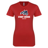 Next Level Ladies SoftStyle Junior Fitted Red Tee-Wolfie Head Stony Book Soccer