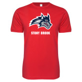 Next Level SoftStyle Red T Shirt-Wolfie Head and Stony Brook
