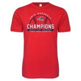 Next Level SoftStyle Red T Shirt-2019 America East Baseball Champions
