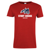 Ladies Red T Shirt-Wolfie Head Stony Book Soccer